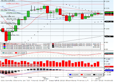 Brent Crude Feb contract Forecast for 18th January 2013