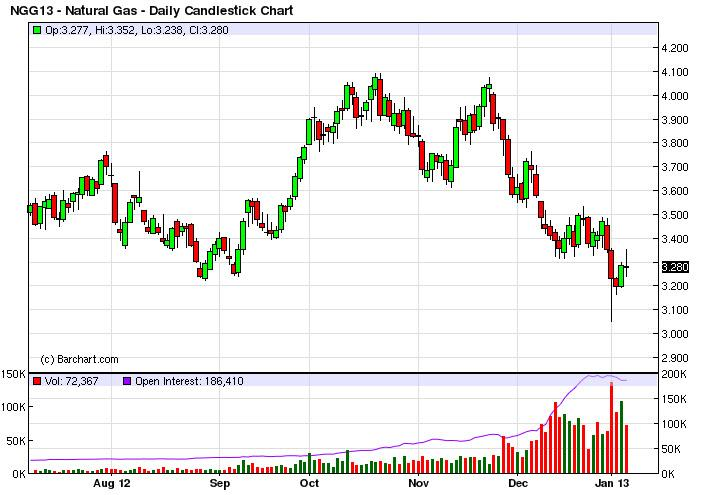 Natural Gas Forecast January 8, 2013, Technical Analysis