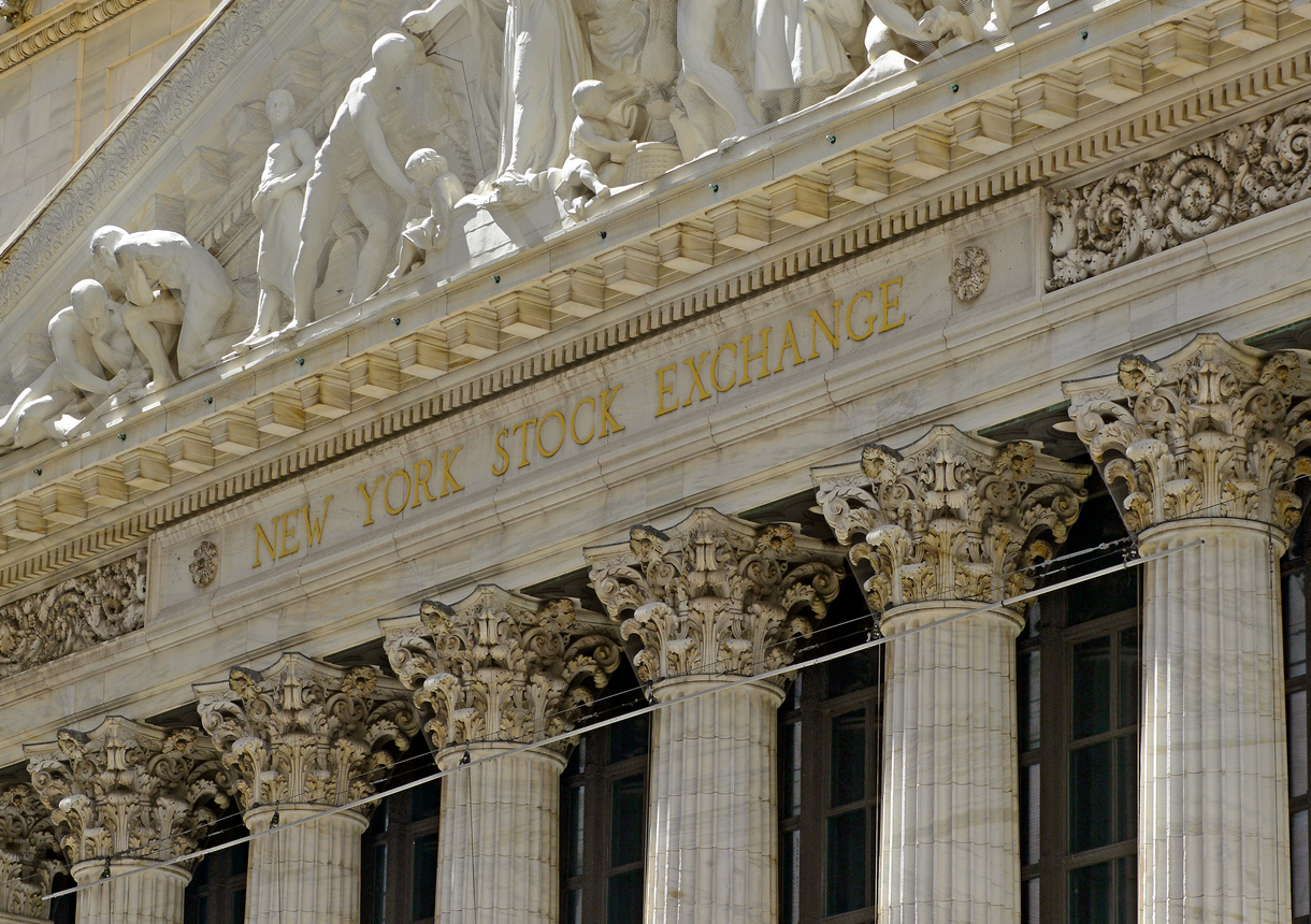 The New York Stock Exchange in downtown Manhattan, New York
