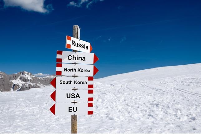 North Korea, South Korea, USA, EU, China and Russia. Cold relations and policy concept