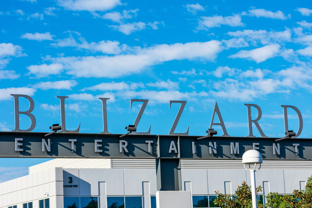 Blizzard Entertainment sign at the entrance to the video game developer and publisher headquarters - Irvine, California, USA - 2020