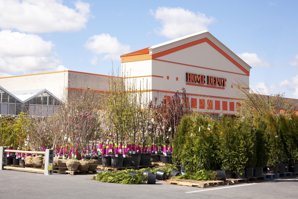 Home Depot (big box home improvement retailer) garden center with shrubs and trees