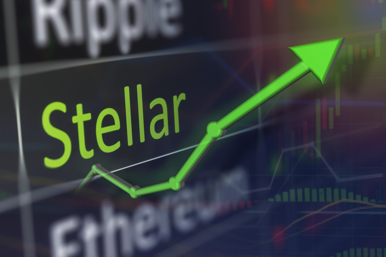 Stellar coin trading chart for monitoring XLM values of stellar and buying crypto currency on the exchange. Copy space.