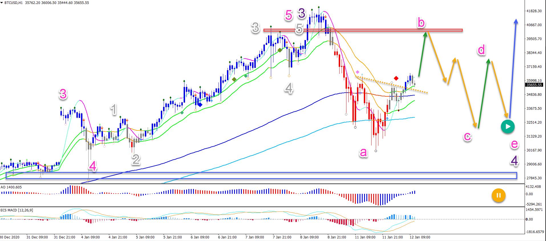 BTC/USD 12.01.2021 1 hour chart