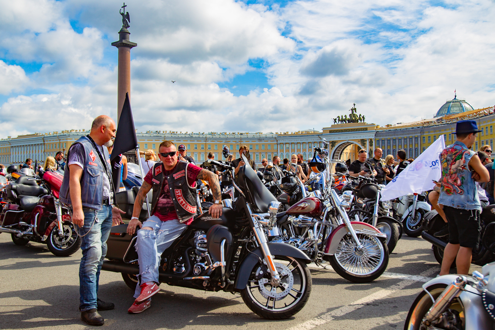 Saint Petersburg. Russia. St. Petersburg Harley days. Motofestival. Palace square. Motorcyclists waiting for a motorcycle race. 04.08.2018