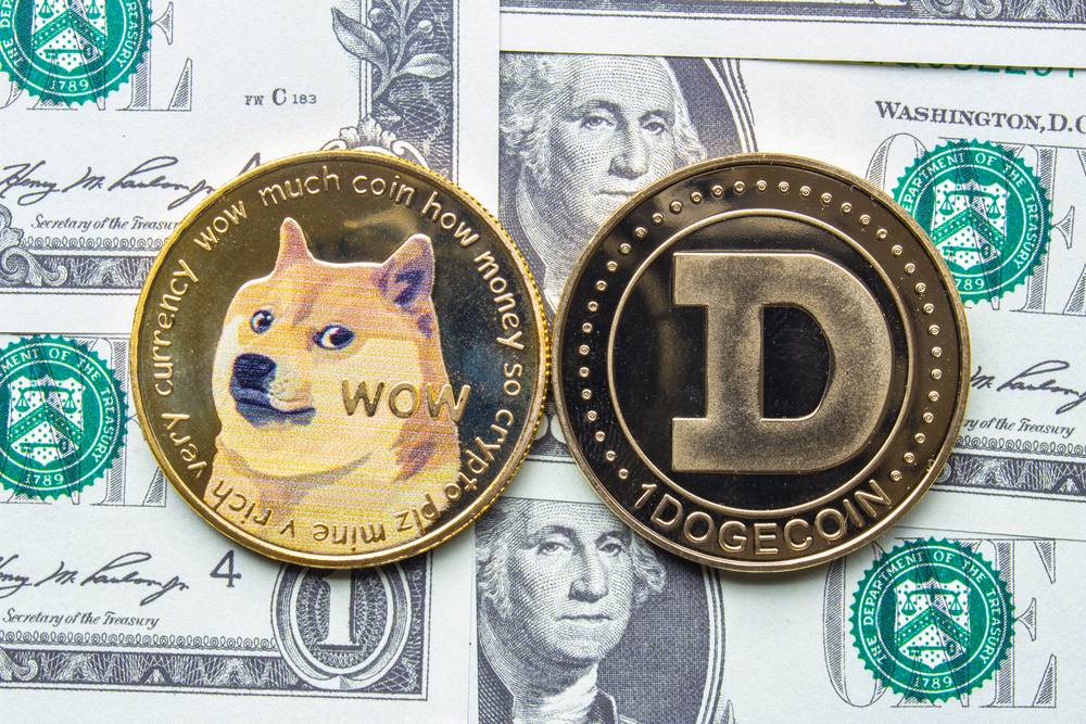 A couple of Dogecoin with one dollar bills on the background.