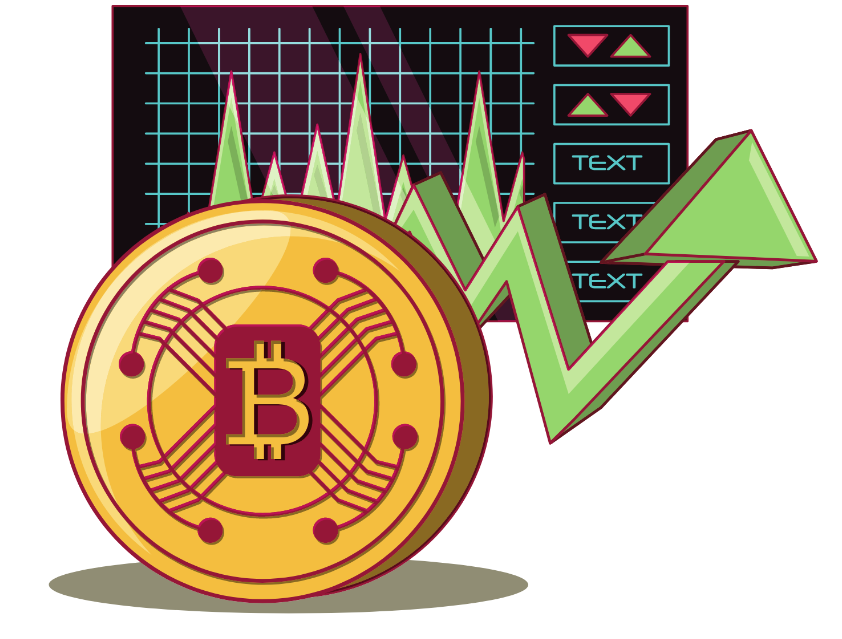 Stock market and BTC coin on a vector image