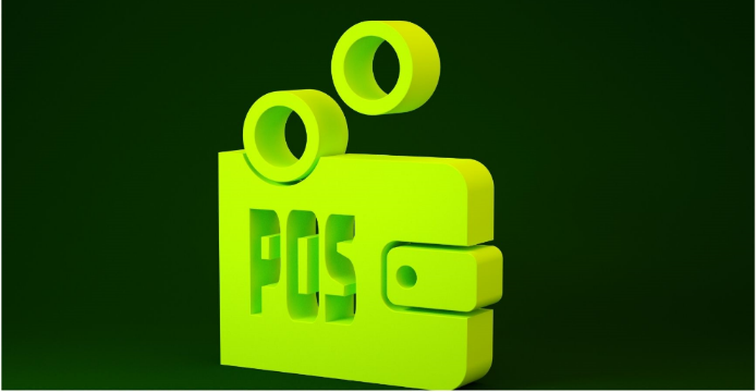 Yellow Proof-of-Stake icon on a green background