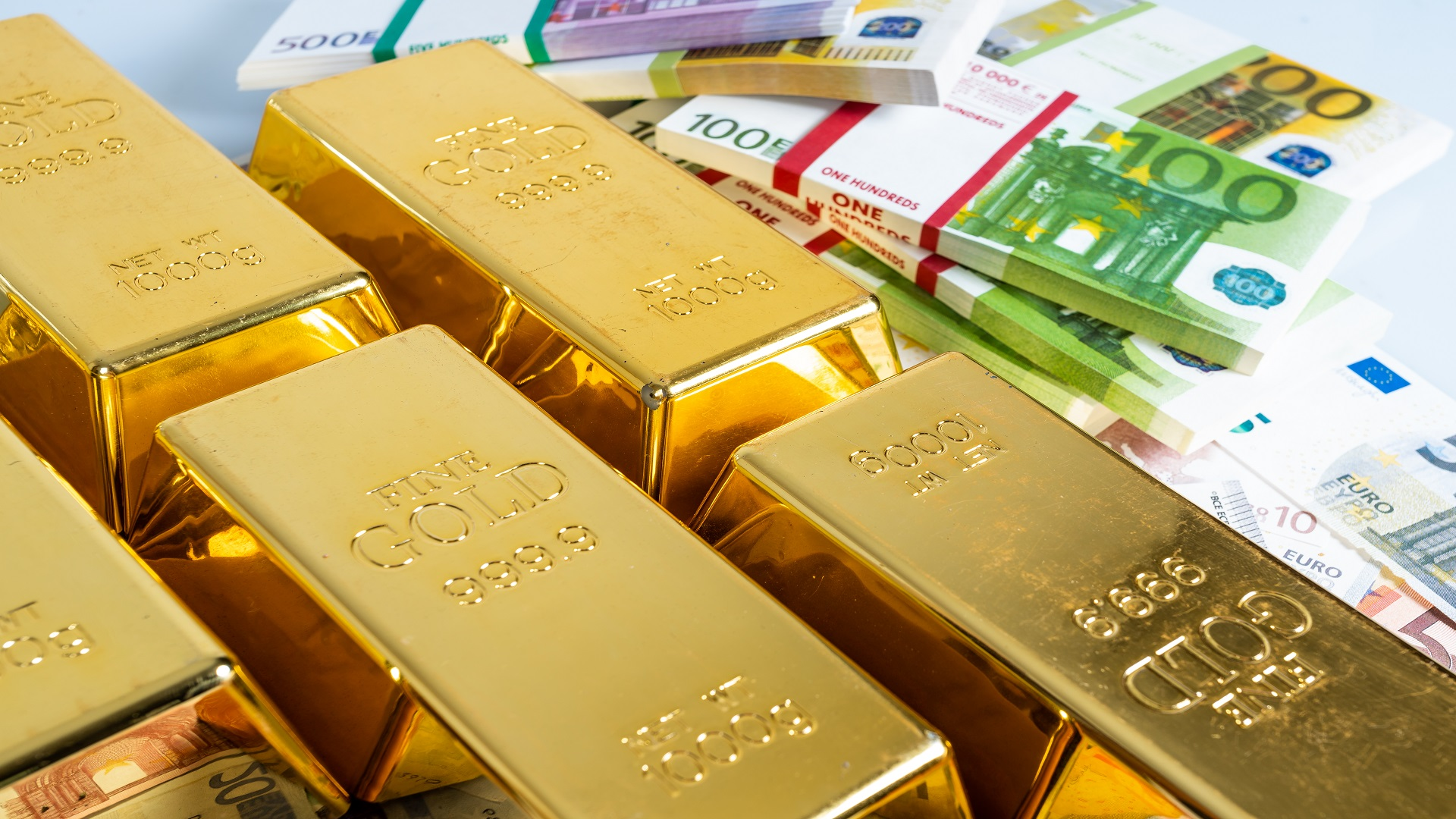 Money and Gold. gold bullions. Financial concept
