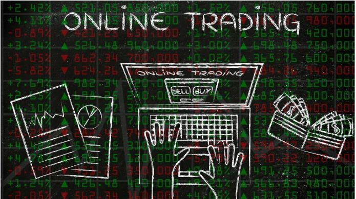 Stock market data with online trading text in white