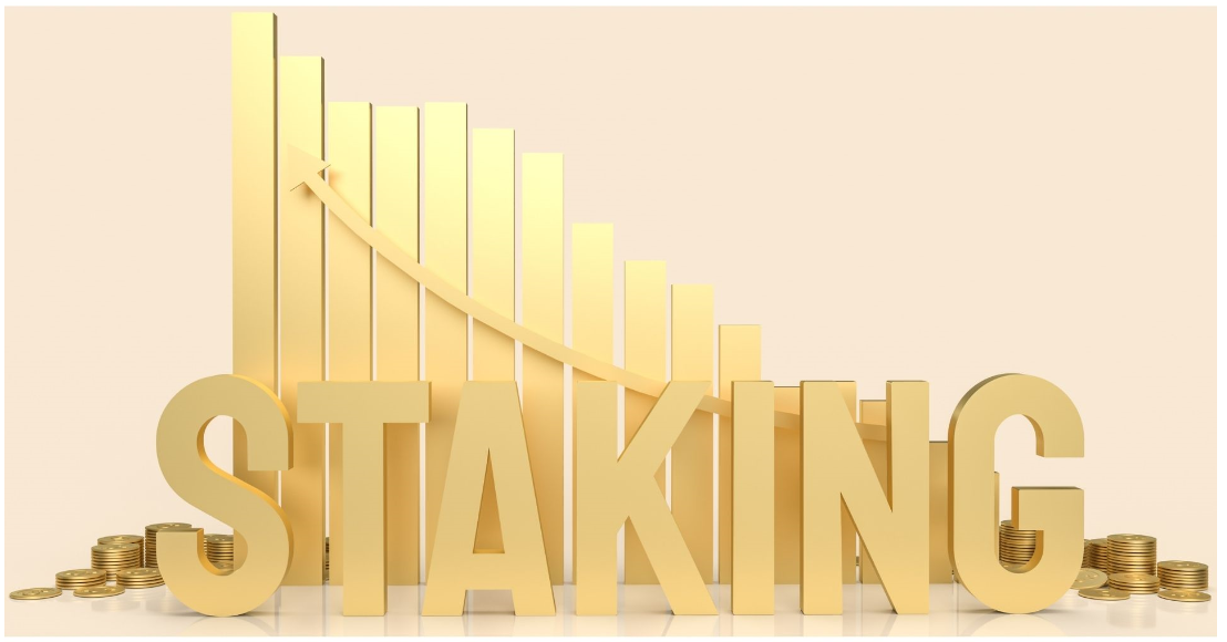 Staking written in gold with a chart in the background