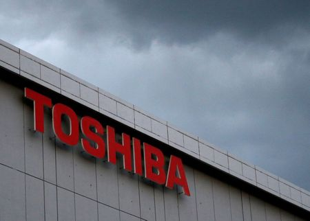 The logo of Toshiba Corp. is seen at
