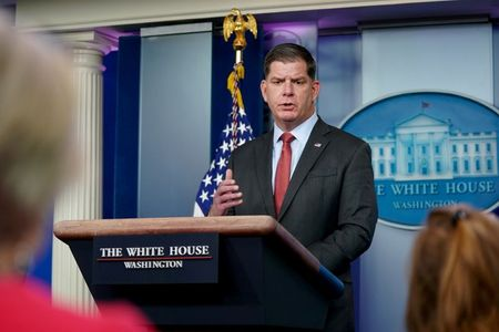 U.S. Secretary of Labor Marty Walsh speaks during