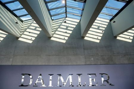 FILE PHOTO: The Daimler logo is seen before the carmaker's