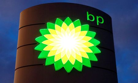 FILE PHOTO: Logo of BP is seen at a petrol
