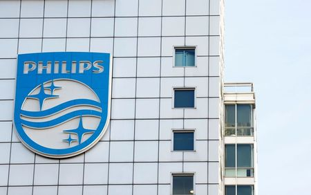 Logo of Dutch technology company Philips is seen