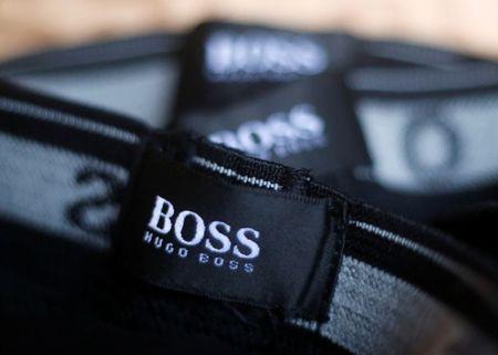 The logo of German fashion house Hugo Boss