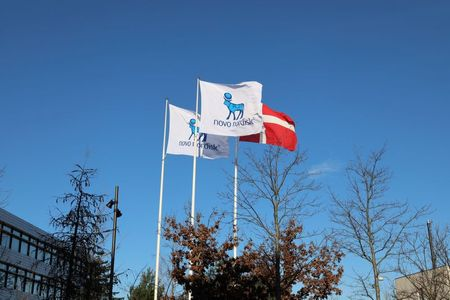 Flags are seen outside Novo Nordisk headquarters in