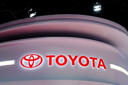 The Toyota logo is seen at its booth