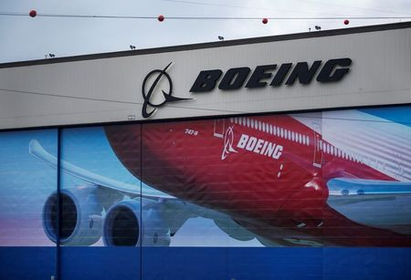 A Boeing logo is seen at the company's