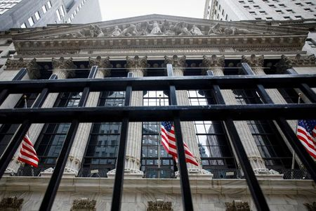 FILE PHOTO: The front facade of the NYSE is seen