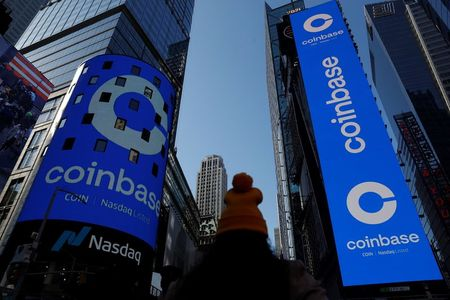 The logo for Coinbase Global Inc is displayed on the