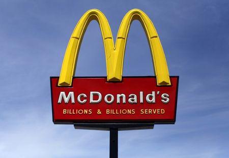 A McDonald's restaurant sign is seen in San