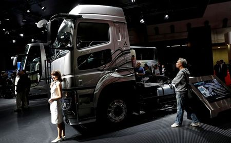 Daimler AG's FUSO Super Great truck is pictured