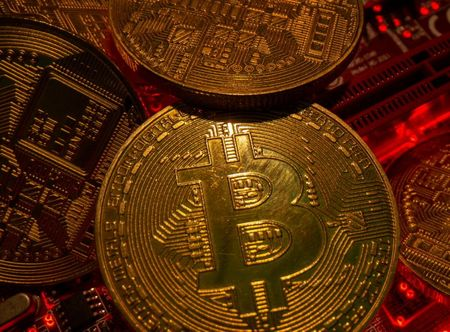 Representations of the virtual currency Bitcoin stand on
