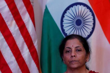 India's Finance Minister Nirmala Sitharaman attends a joint