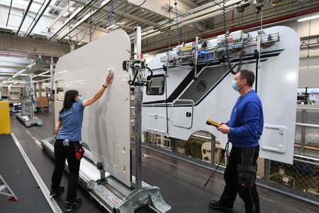 Workers prepare camper walls at Knaus-Tabbert AG factory in Jandelsbrunn