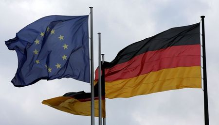 The European Union and German nation flags are pictured before