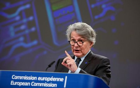 European Commissioner for Internal Market Thierry Breton attends a news conference in Brussels