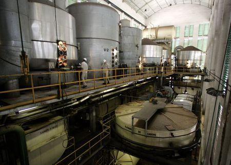 Usina de açúcar em Sertãozinho, no interior de São Paulo